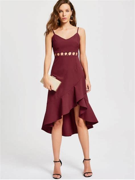 ruffle cutout slip semi formal dress wine dresses