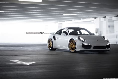 White Porsche Turbo S ADV05S Track Spec CS Series Wheels ADV.1 Wheels