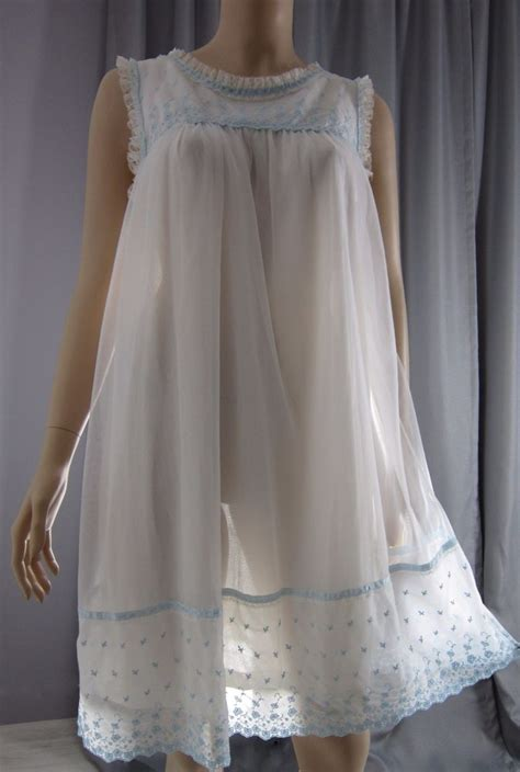 images of women in sheer nightgowns vintage 1960s white sheer chiffon overlay babydoll nightie