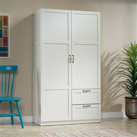 wardrobe storage cabinet white sauder select wardrobe armoire in white 420495