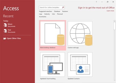 tutorial video access access 2016 create a database