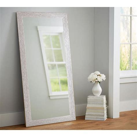 large floor mirror full length brown leather frame bedroom farmhouse barnwood full length floor wall mirror bm036t