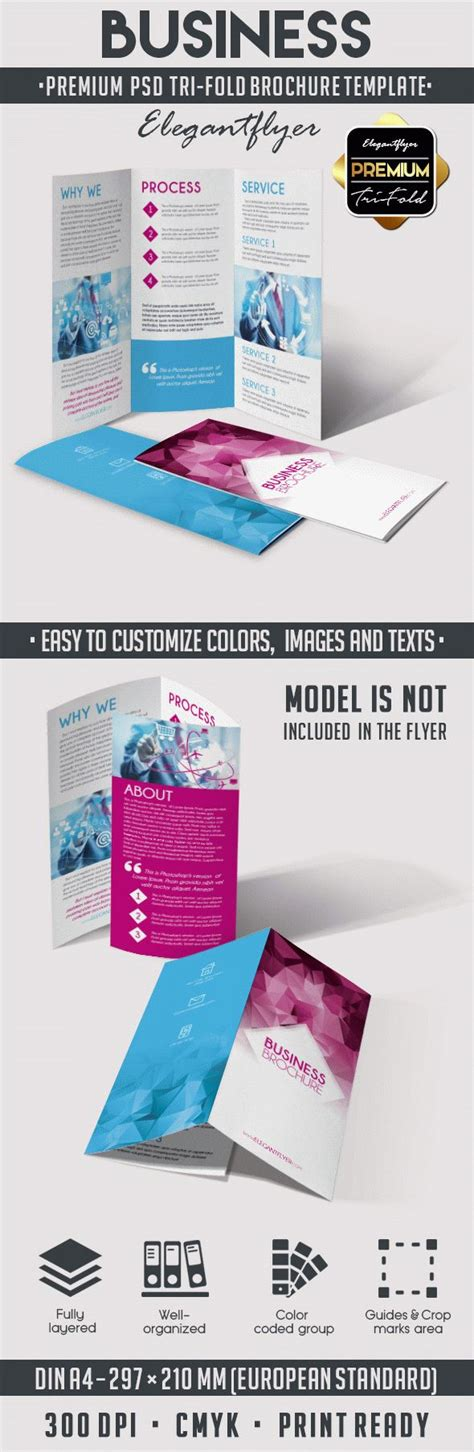 business tri fold brochure psd template by elegantflyer