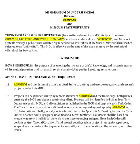 Letter Of Agreement Vs Mou memorandum of understanding template 35 free sle