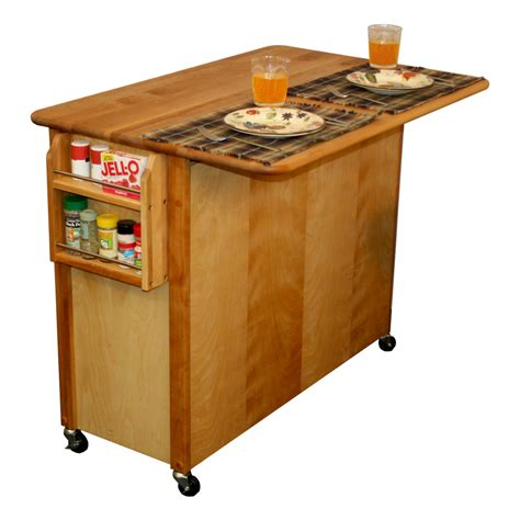 catskill butcher block island with drop leaf