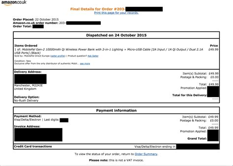 Amazon Printable Invoice | i need an invoice for my order on amazon uk mobilepal