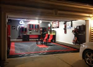 Garage Decorating Ideas by Garage Interior Ideas With Cool Lighting For