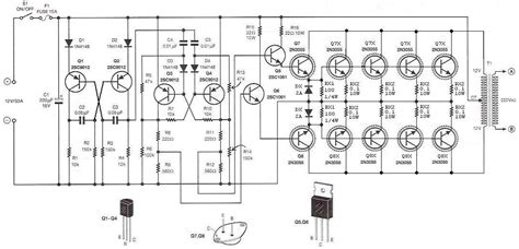 transistor las listrik rangkaian inverter dc ke ac 500 watt dengan transistor