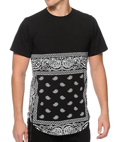 bandana pattern t shirt prolific bandana all over long t shirt at zumiez pdp