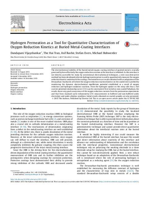 Bellevue Mba 655 Quantitative by Hydrogen Permeation As A Tool For Quantitative