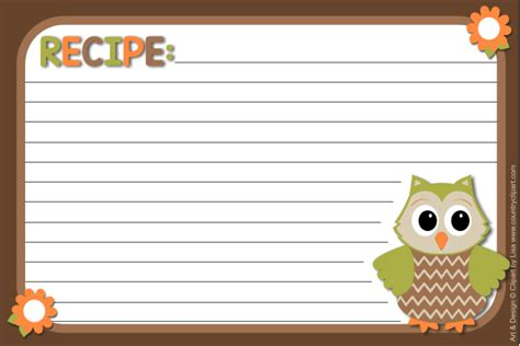 owl printable recipe cards clipart recipe clipart for work