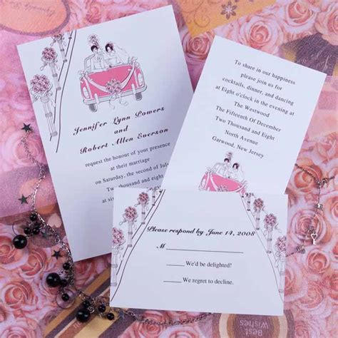 Wedding Invitations   Simple pink floral wedding invitations EWI225 as low as $0.94