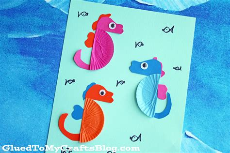 How To Make A Seahorse Out Of A Paper Plate - cupcake liner seahorse kid craft glued to my crafts