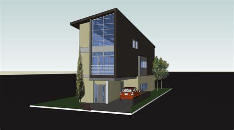 Contemporary House Plans Narrow Lot by Narrow Lot Modern Box Parking No