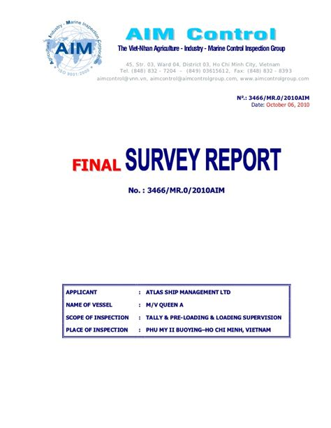 marine cargo survey report template loading inspection report