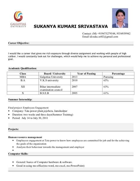 mba fresher resume sle mba finance resume sle for freshers 28 images mba