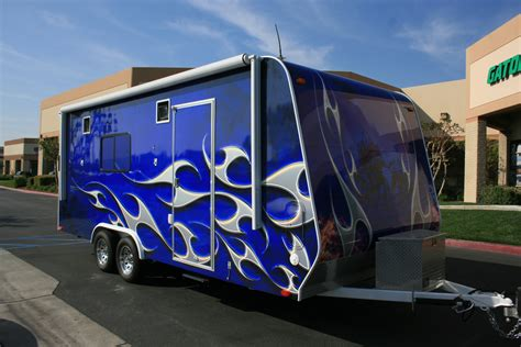 blue trailer blue trailer wrap with flames 800wrapmycar