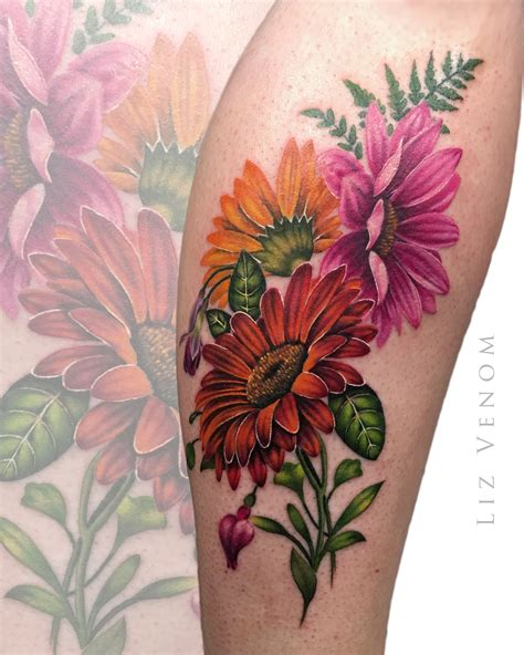 gerber daisy tattoo beautiful vintage botanical inspired gerber