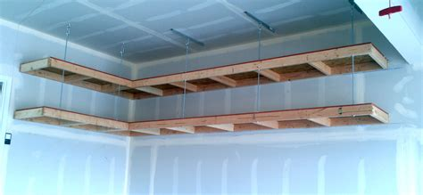 How To Build A Hanging Shelf In Garage by Custom Diy Wood Wall Mounted And Hanging Garage Storage