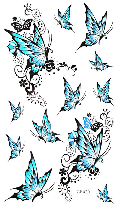 Blue Style Temporary compare prices on blue butterfly shopping buy low price blue butterfly at