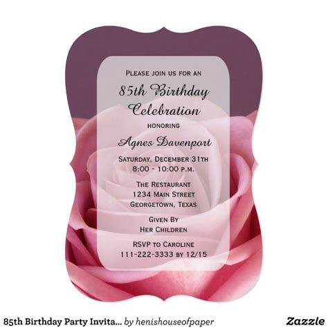 85th Birthday Party Invitation Lovely Rose Zazzle 85th Birthday Invitation Template