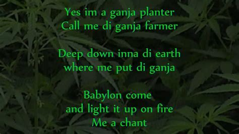 Ganja Planter Lyrics marlon asher ganja farmer ganja farmer riddim lyrics on screen
