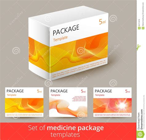 medicine box template set of medicine package design with 3d template stock
