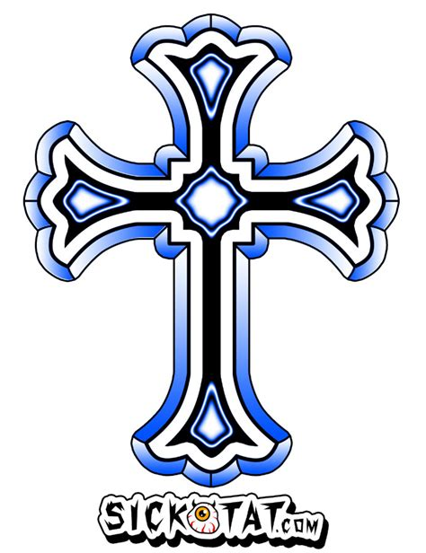 blue ink cross tattoo design