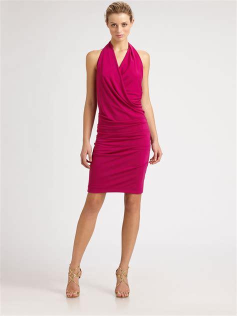 Nicoles Dress by Miller Silk Halter Dress In Pink Lyst