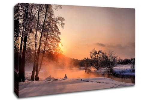 Landscape Pictures Canvas An Evening In December Landscape Canvas Stretched Canvas