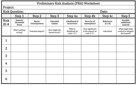 preliminary risk assessment