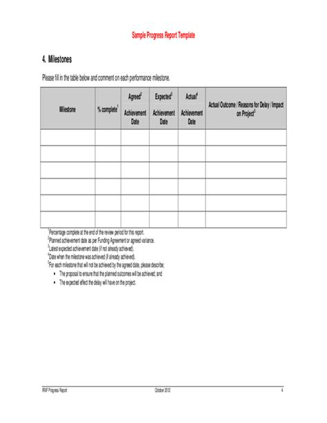 sle progress report template free