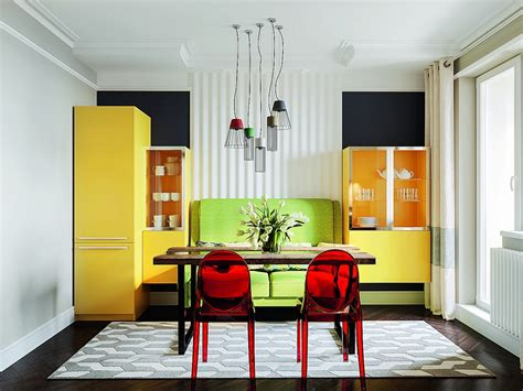 Color Ideas For Kitchens bright multicolor apartment in mid century modern style