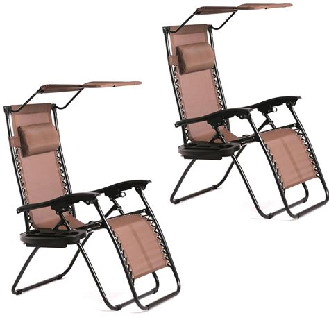 Zero Gravity Chair With Canopy And Cup Holder by New 2 Pcs Zero Gravity Chair Lounge Patio Chairs With
