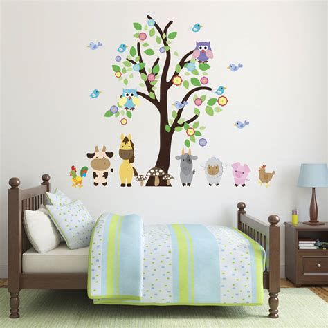 farmyard wall stickers tree with farmyard animals wall sticker by mirrorin notonthehighstreet