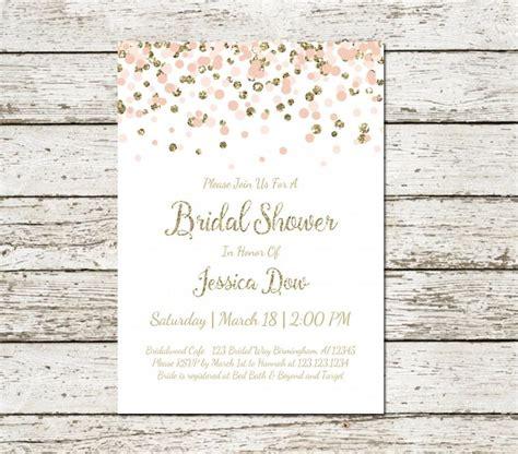 Blush Pink And Gold Bridal Shower Invitation Printable Confetti Glitter Elegant Classy Wedding Simple Bridal Shower Invitations Templates