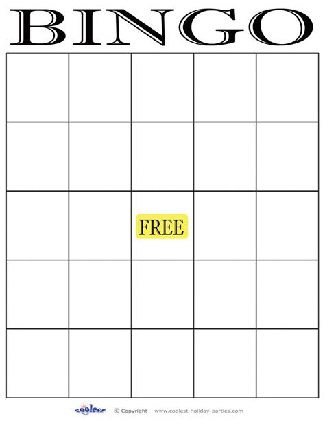 Bingo Template blank bingo cards images