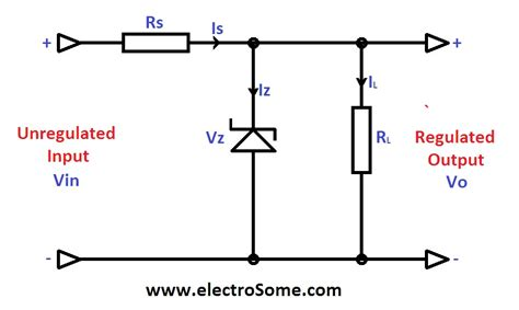 voltage regulator using zener diode and bjt zener diode as a voltage regulator where do the formulas come from electrical engineering