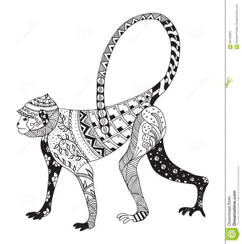 zentangle stylized monkey chinese zodiac stock vector