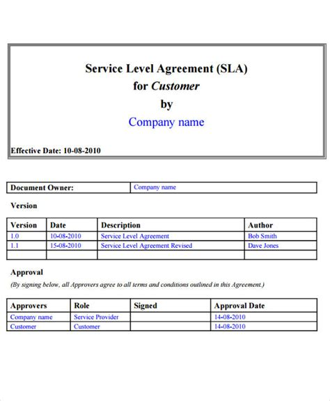 itil service level agreement template sle service level agreement itil service level