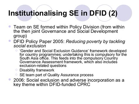 Essay On Institutionalising Innovation by Dfid And Social Exclusion The Use And Otherwise Of A Concept In Inte