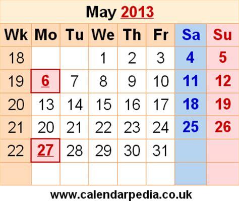 Calendar May 2013 Calendar May 2013 Uk Bank Holidays Excel Pdf Word Templates