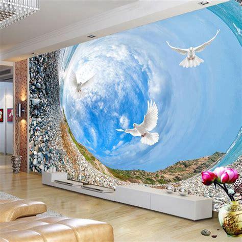 Sky Tv From Living Room To Bedroom custom 3d mural wallpaper 3d landscape blue sky white