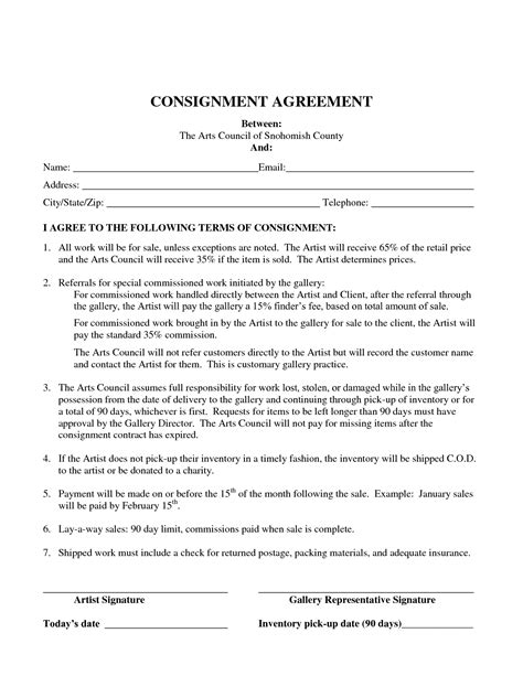 clothing consignment agreement template consignment agreement template free printable documents