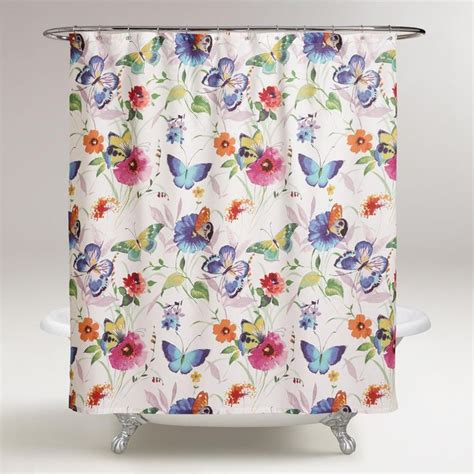 shower curtains floral print colorful butterflies take flight on our watercolor floral