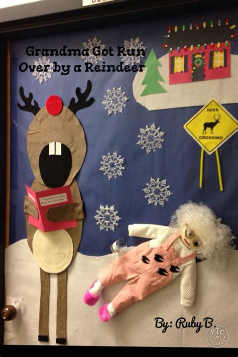 grandma got run over by a reindeer christmas door