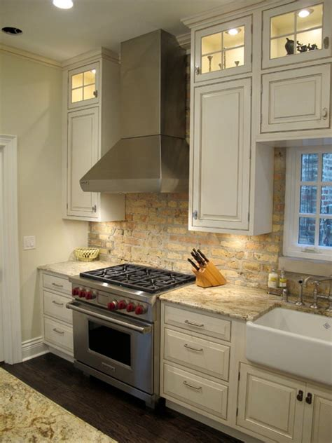 brick backsplash in kitchen lincoln park chicago kitchen with brick backsplash dresner design traditional kitchen