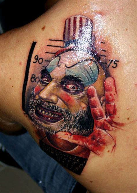 nasty tattoos a clown is the subject of this photo realistic