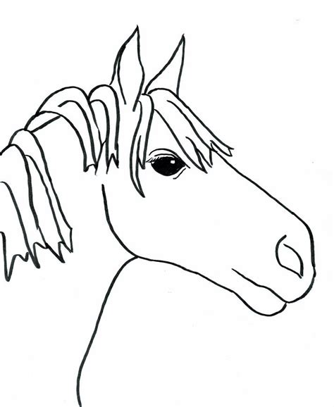 simple horse coloring page cartoon drawings horses cliparts co