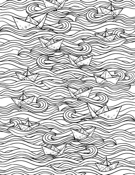 dessin d un bateau sur l eau coloriage bateau en papier sur eau origami pour adulte